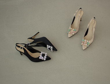 AT023 Flower cubic sling back