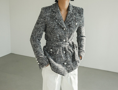 Belt tweed jacket