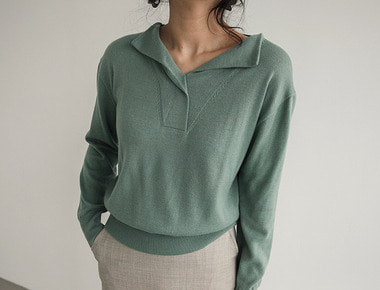 Taylor open collar knit