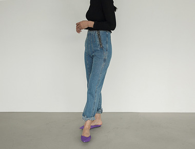 Double zipper denim pants