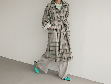 Wool check trench coat
