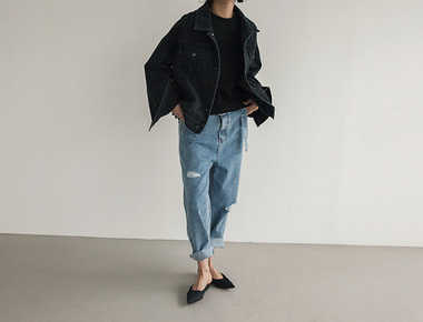 Lang belt denim pants