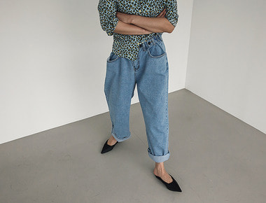 Bijou button denim pants