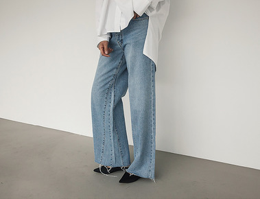 Button wide denim pants
