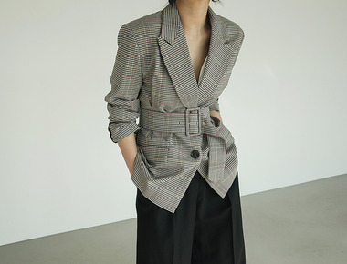 Cel check belt jacket