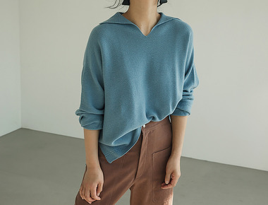Layered crop pullover knit