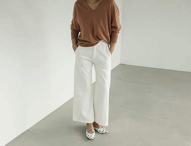 Ivory wide denim pants
