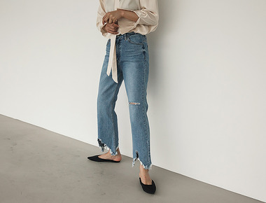 Zigzag denim pants