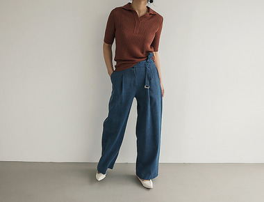 Herringbone belt pants