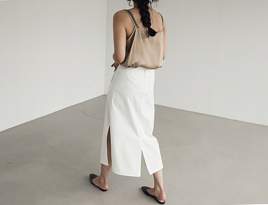 Leme deep slit skirt