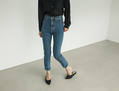Waist slit denim pants