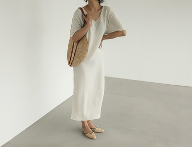 Linen holgament V dress