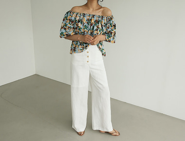 Over button wide pants