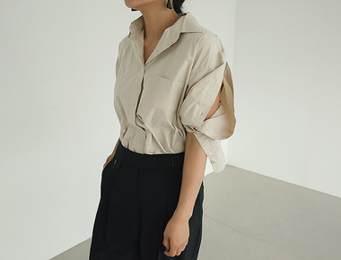 Button side slit shirts
