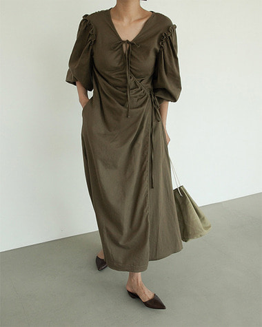 Shirring wrap dress