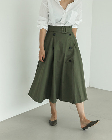Belted double button skirt