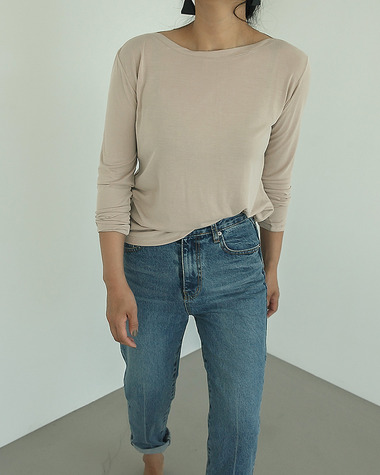 Layered boat neck tee