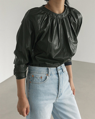 Uno leather blouse