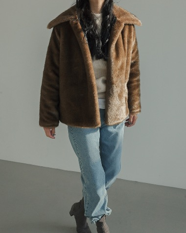 Collar fur jacket