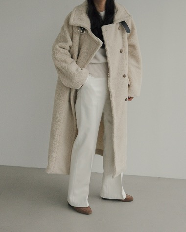 Over double buckle coat
