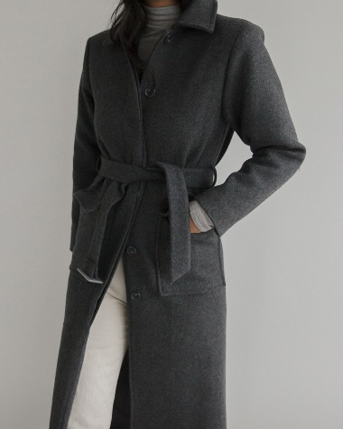 Long belt coat