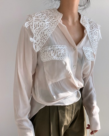 High lace blouse