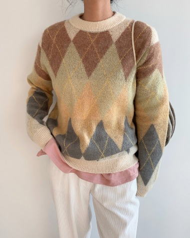 Argyle color knit