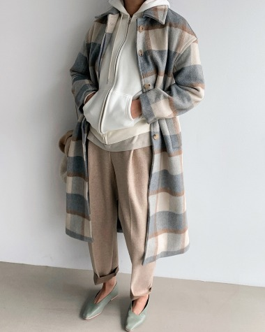 Seine wool check coat