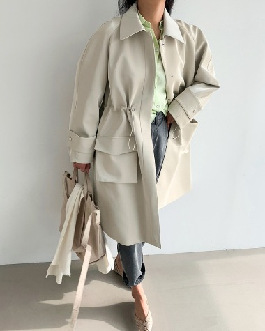 Leather string trench coat
