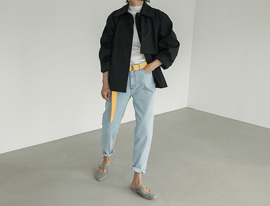 Belted high denim pants