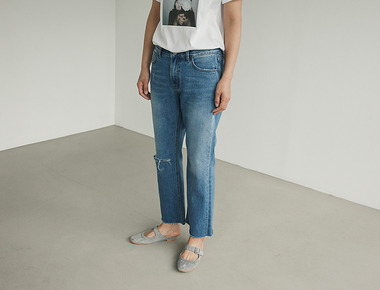 Damage crop denim pants